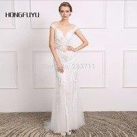HONGFUYU Luxury White Beading Pearls Sexy Mermaid Short Sleeves 2017 Wedding Dresses Vestido De Noiva Scoop Bridal Dress410112