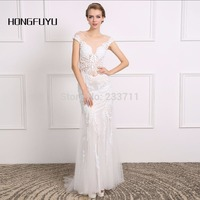 Hongfuyu Luxury White Beading Pearls Sexy Mermaid Short Sleeves 20017 Wedding Dresses Vestido De Noiva Scoop