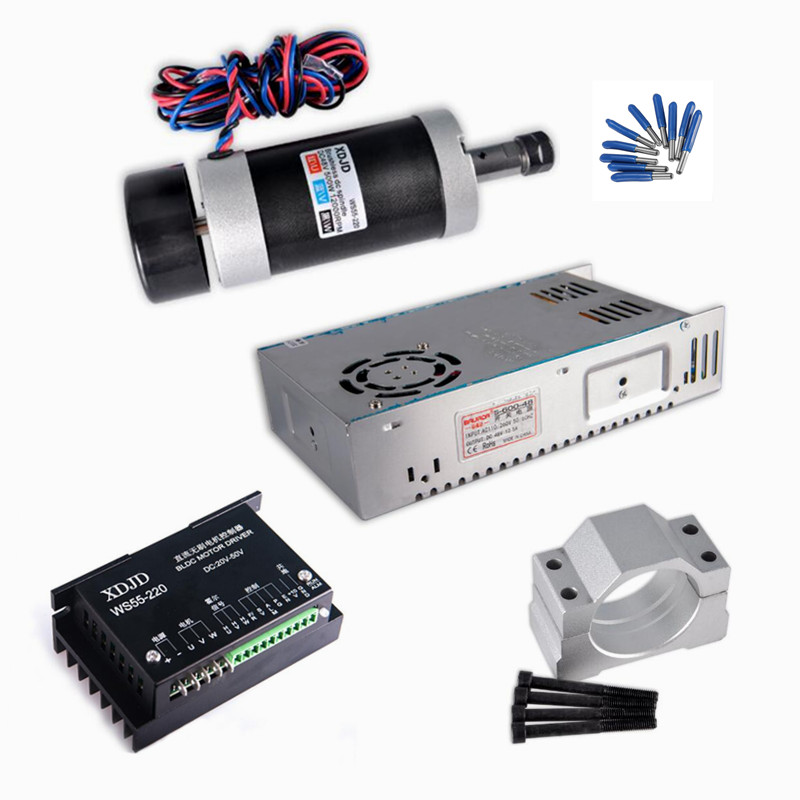 цены на ER11 collet Brushless 500W DC Spindle CNC lathe machine kit 55MM Clamp Driver Power Supply 3.175mm cnc router tools в интернет-магазинах