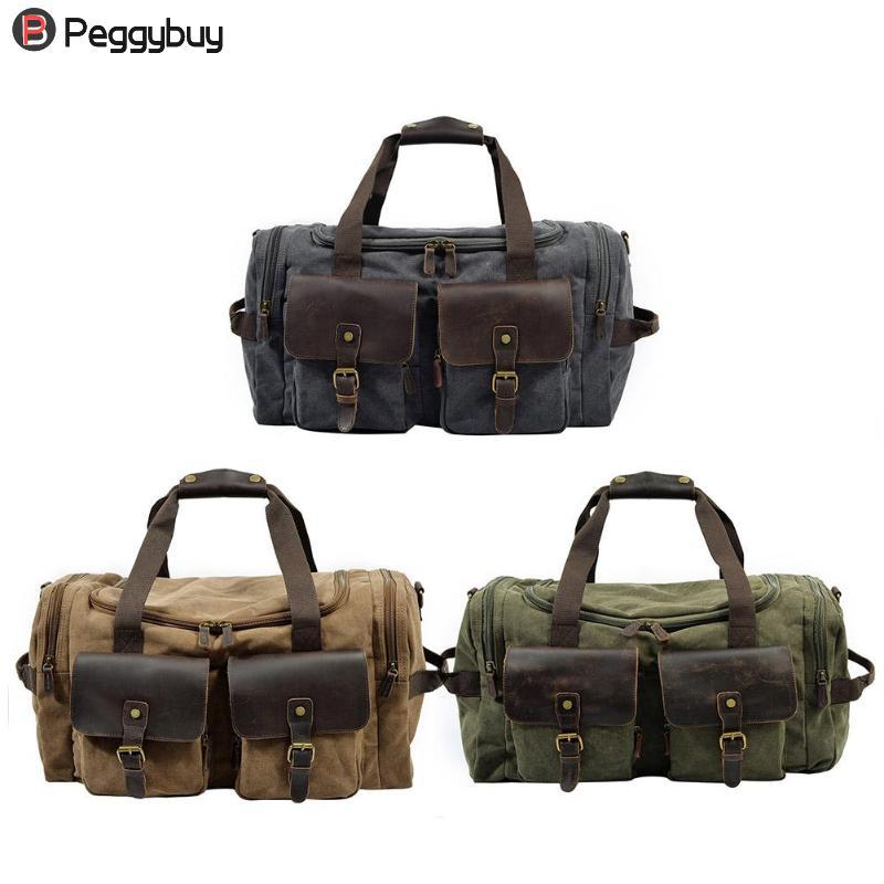 53 X 30 X 23Cm Unisex Retro Canvas Shoulder Crossbody Bags Luggage Large Travel Handbags Women/Totes