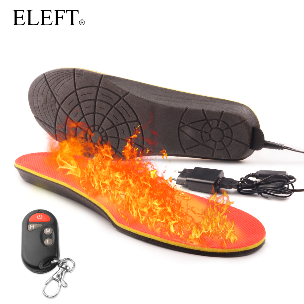 ELEFT Electric Heated Insole Winter Shoes Boots Pad With Remote Control Orange Foam Material memory foam heated insoles new electric warm heated insole with remote control winter breathable thick plush insoles shoes boots soles foam material 2000ma