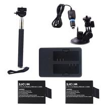 Sports Camera Accessories 2Pcs Battery+Dual Charger+Car Kit +Selfies Stick For Sjcam Sj5000 Sj5000x Plus Wifi j4000 /M10 Series