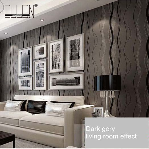 Aliexpresscom Buy Wallpaper stripes waterproof modern dark grey