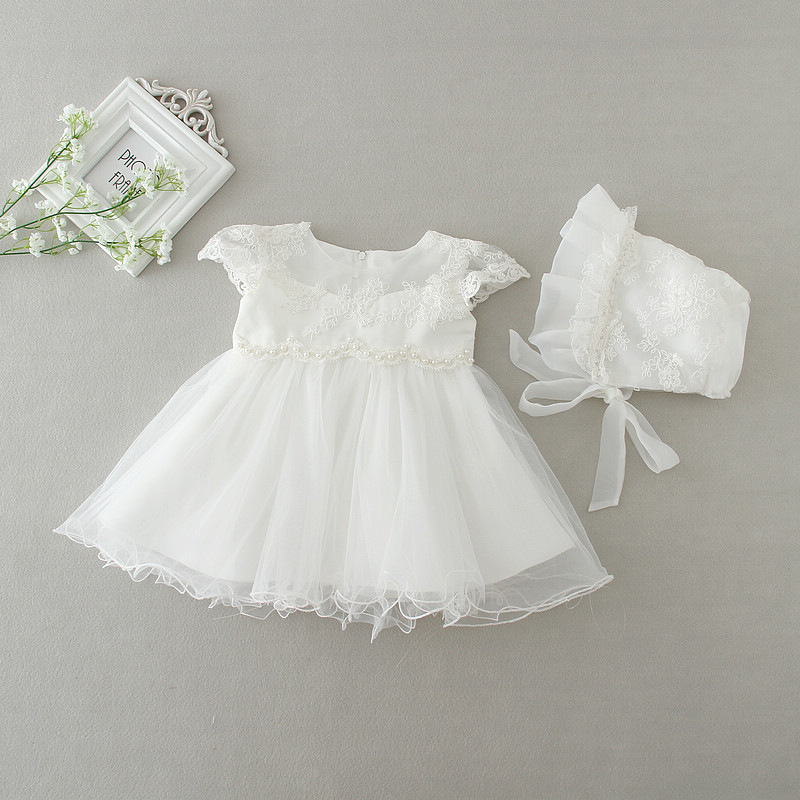 2019 Baby Girl Dress With Hat White 1 Year Old Birthday Party Formal  Vestido Infantil Baptism. sku  32664454903 21c5fa9962c9