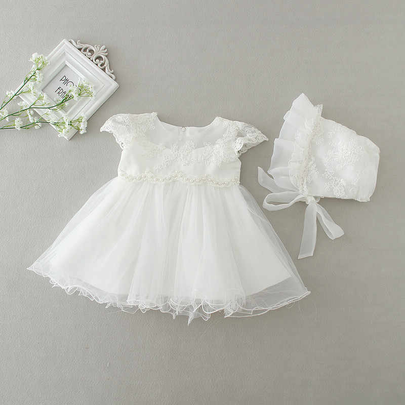 252414d95 ... 2019 Baby Girl Dress With Hat White 1 Year Old Birthday Party Formal  Vestido Infantil Baptism ...