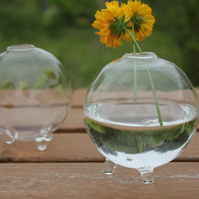 Round Glass Vase Terrarium Vases Cute Flower Pots Tabletop Glass