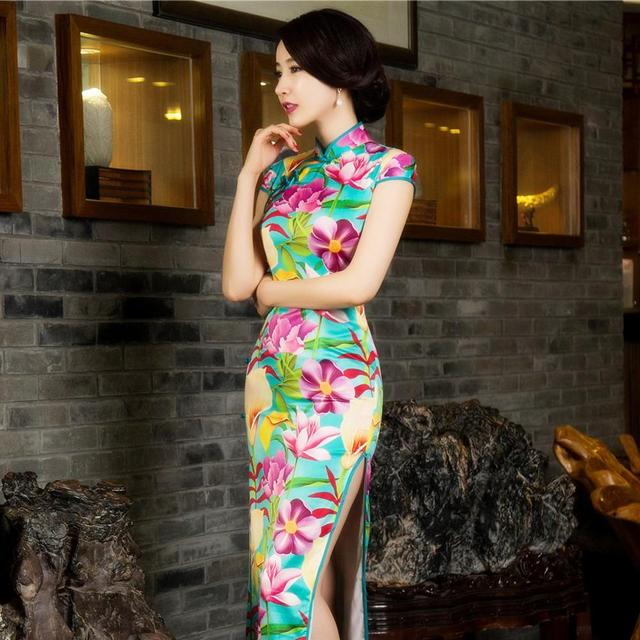 Fashion Clothing Women Chinese Style Silk Cheongsam Slim Mandarin Collar Sleeveless Long Printed Dress Vestidos De Festa 12015