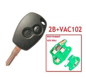 Image 1 - Бесплатная доставка, 2 кнопки дистанционного ключа с чипом Pcf7946, круглая кнопка с лезвием VAC102 для Renault, 5 шт./лот