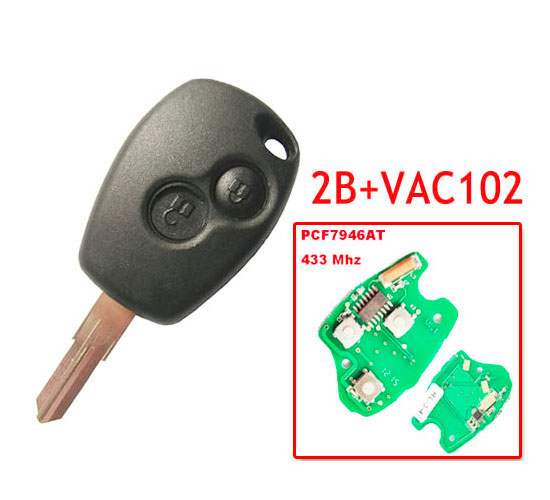 Free Shipping 2 Button Remote Key With Pcf7946 Chip Round Button With VAC102 Blade For Renault 5pc/lot