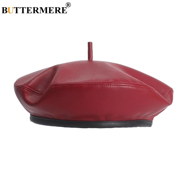 f9195ed4db6ee BUTTERMERE Leather Women French Military Beret Female Flat Cap Red Ladies  Pumpkin Hat Adjustable Vintage Autumn Winter Flat Cap
