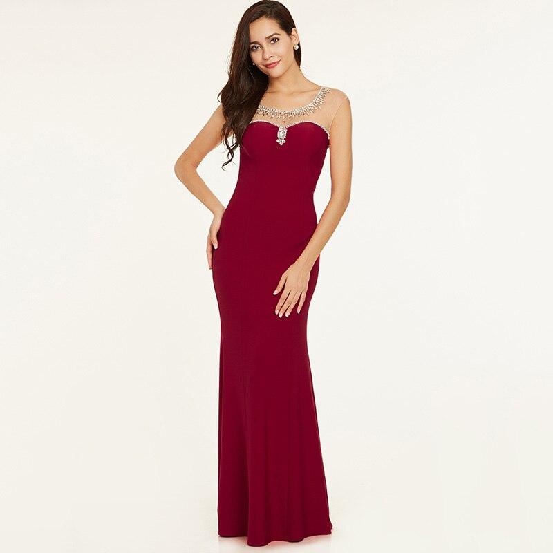 Tanpell beaded kveldskjole elegant rød hette ermer rett gulv lengde - Spesielle anledninger kjoler - Bilde 6