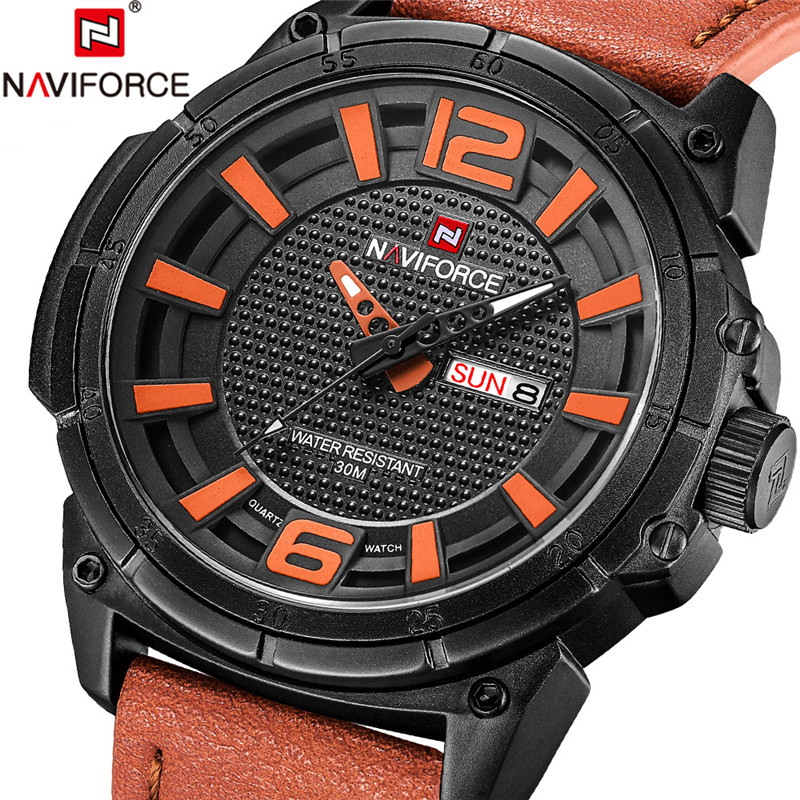 NAVIFORCE Men Watch Military Sport Mens Watches Top Brand Luxury Army Business Date Week Leather Band Quartz Male Clock New 9066 naviforce men watch date week sport mens watches top brand luxury military army business rubber strap quartz male clock new 9123