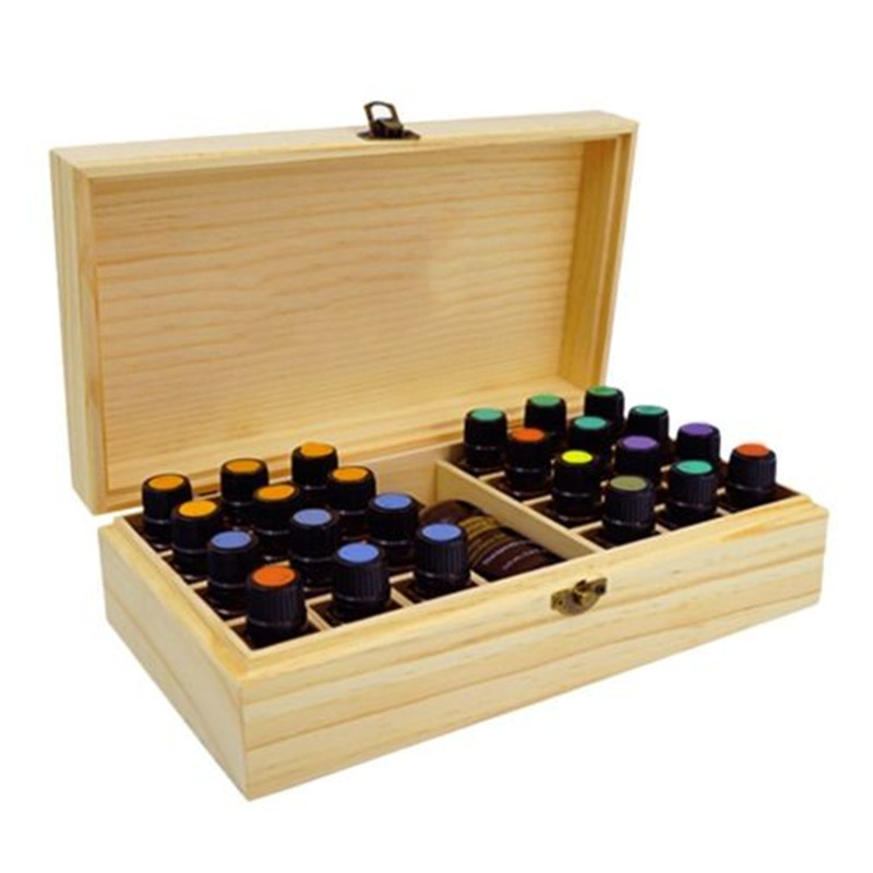 Aromatherapy Essential Oil Storage Box 25 Slots Wooden Case Container Holder Carry Organizer Storage Box Jewelry Box Case sdfsd 25 box [03050122 sdsdf