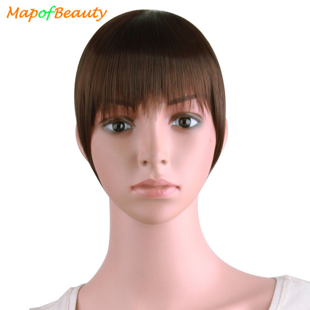 3897ddee7b79e9 MapofBeauty Natural Blunt Bangs Clip-In Dark Light Brown Black Synthetic  False Hair Fringe Pure Colors 8