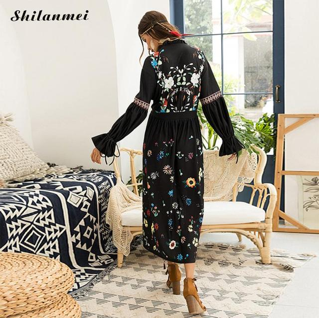 Boho Inspired Dress Women Fl Folkloric Embroidery V Neck Black Maxi Autumn Long Sleeve Bohemian Femme Beach
