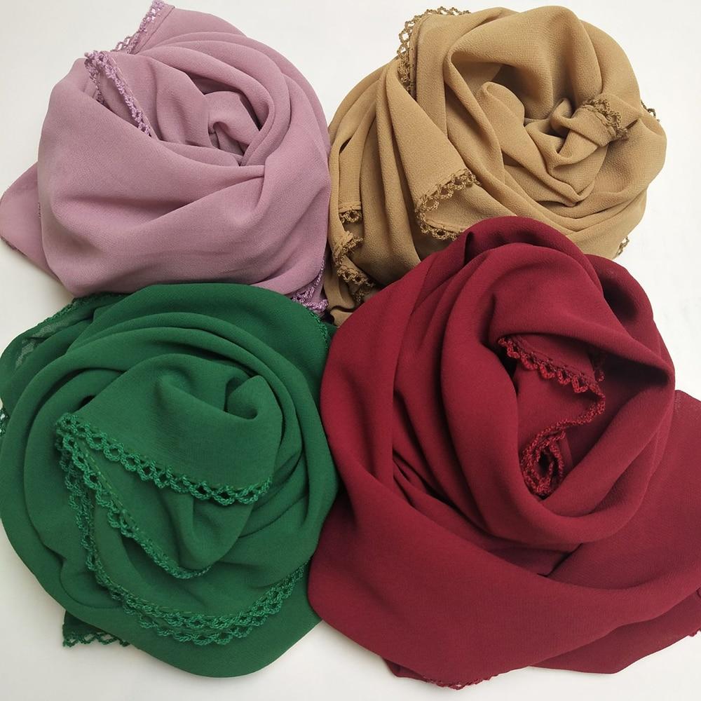 1 pc New 2018 bubble chiffon lace edges women   scarf   muslim spring floral   wrap   shawls plain long headband   scarves   180*75cm