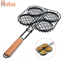 Hot Non Stick Small Hamburger Grill Basket Mini Burger Press Set Small Burger Basket Set BBQ Accessories BBQ mesh meat