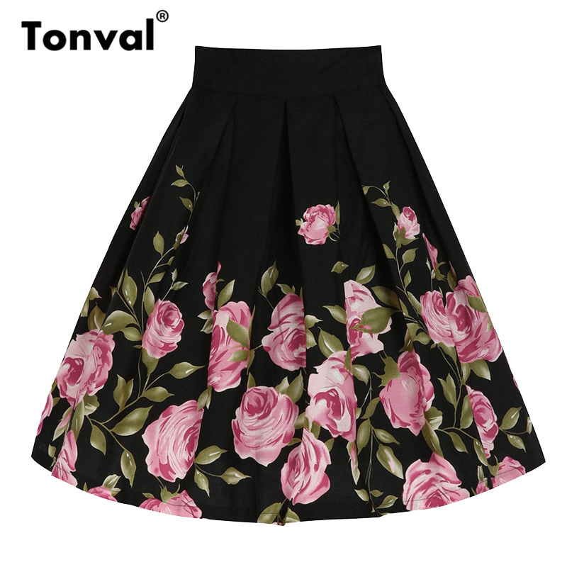 Tonval Cotton Vintage Plus Size Skirts Womens Flower Black Pleated Swing Skirt Femme Floral Print Midi Retro Skirts