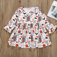 2019 Fashion Baby Girl Cartoon Halloween Pumpkin Long Sleeve Princess Dress Toddler Infant Kids Casual Dresses