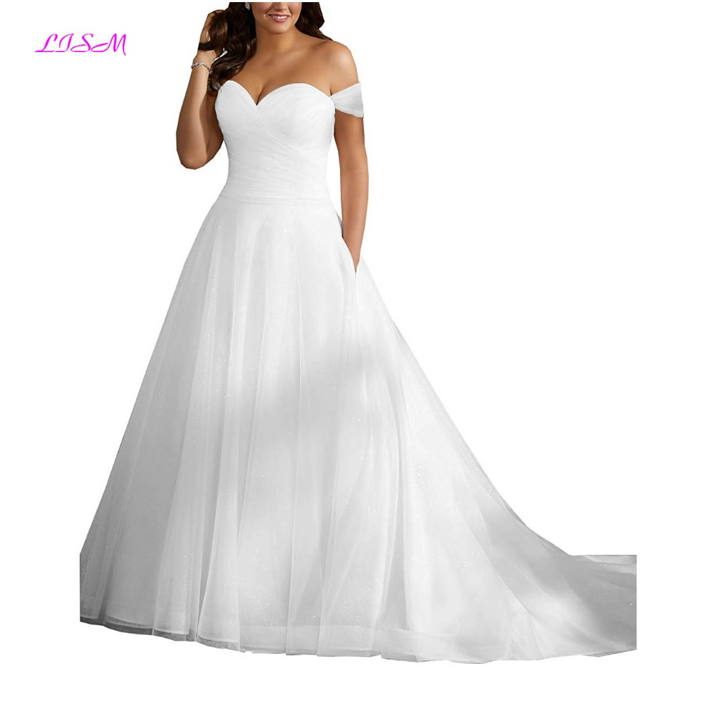 Sweetheart Straps Ruffled Plus Size Wedding Dresses with Pocket A-Line Sequins Tulle Wedding Dress Long Bridal Gowns for Women