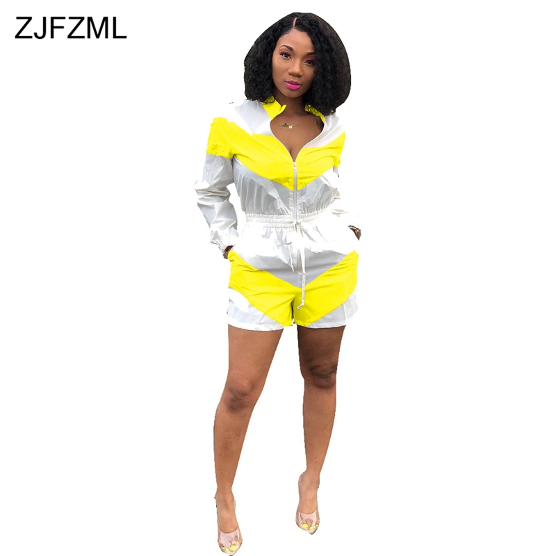 Pink White Striped Spliced Overalls For Women Full Sleeve Zip Up One Piece Jumpsuit  Casual Sportswear Drawstring Short Playsuit