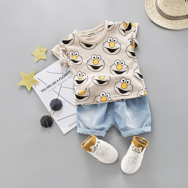Baby Boy Clothing Set Cute Summer T-Shirt Cartoon Children Boys Clothes Shorts Suit For Kids Outfit Denim Outfit(China)