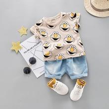 Zestaw ubranek dla chłopca śliczna letnia koszulka Cartoon dzieci chłopcy znosić szorty garnitur dla dzieci strój Denim strój 1 2 3 4 lata