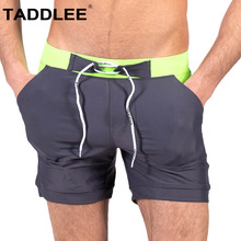 Taddlee Brand Swimwear Men Swimsuits Swim Boxer Trunks Short Board Surf Shorts Solid