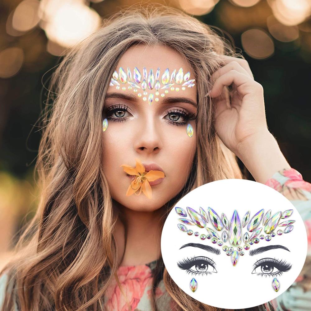 Glitter Face Jewelry Sticker Temporary Tattoo Party Face Makeup Tools Rhinestones Flash Tattoo Stickers