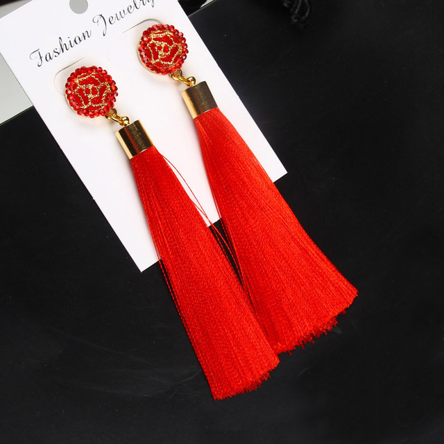 Bohemian Women's Crystal Tassel Earrings