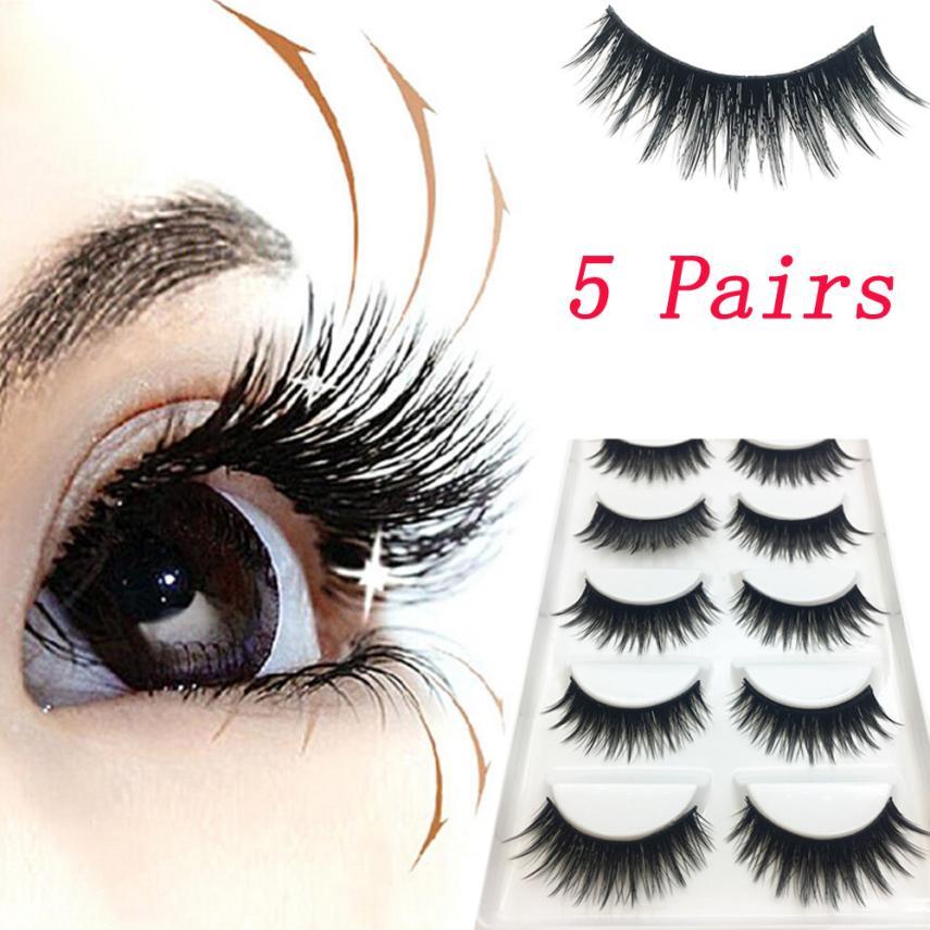 Hot 5 Pairs Manual Luxury 3D Makeup Lashes Fluffy Strip Eyelashes Long Natural Soft Natural Thick Simulation Fake Eyelashes Gift
