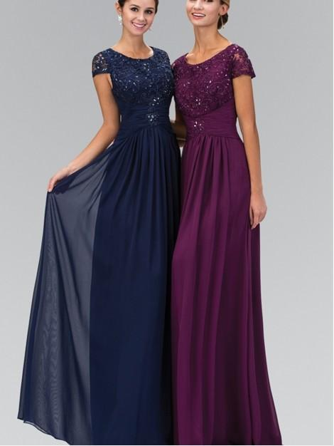 2016 Ny Designer Long Floor Längd A-Line Navy Blue Modest Chiffon Lace Bridesmaid Dresses Klänningar Med Kort Ärmar Party Dress