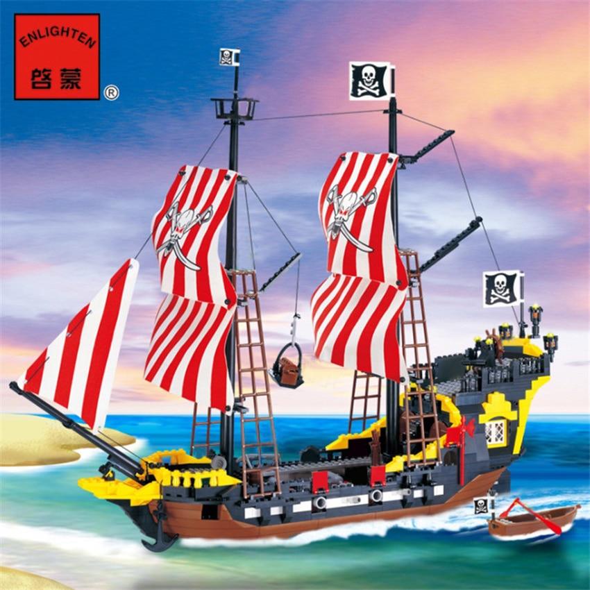 870+pcs Big Black Pearl Building Blocks Compatible With  Pirates Ship Enlighten Blocks Pirates Educational Kids Toys