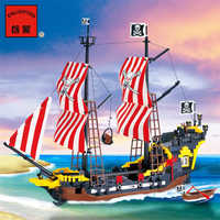 870 + piezas grandes bloques de construcción de perlas negras compatibles con legoings piratas barco iluminar bloques piratas juguetes educativos para niños