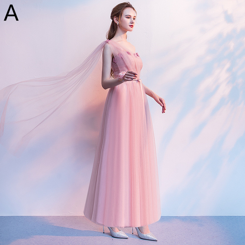 Beauty Emily Sexy V Neck Pleated Bridesmaid Dresses 2019 Elegant Dust Pink Floor Length Wedding Guest Dress with Appliques