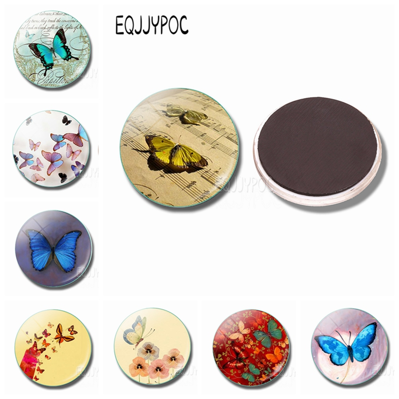 30MM Glass Flower World Butterfly Fridge Magnet Cartoon Butterfies Whiteboard Refrigerator Magnets Sticker Beautiful Home Decor