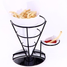Black Iron Cone Holder French Fries Chip Stand Flavoring Rack Ice Cream Tools