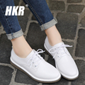 HKR 2017 spring women oxfords shoes ballerina flats shoes women genuine Leather lace up boat shoes moccasins white loafers 8512