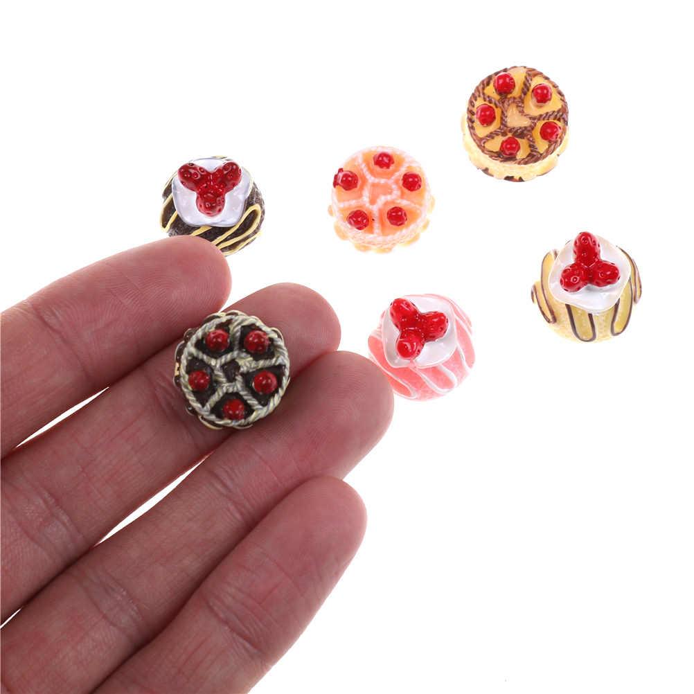 6 Pcs/lot Fake Strawberry Kue Makanan Resin Pipih Datar Kembali Cabochon Kawaii Diy Resin Kerajinan Dekorasi Rumah Boneka Miniatur