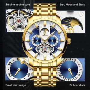 Image 3 - TEVISE ساعة الرجال توربيون التلقائي ساعة القمر المرحلة مضيئة Waterprof الميكانيكية ساعة اليد أداة T856A هبوط السفينة