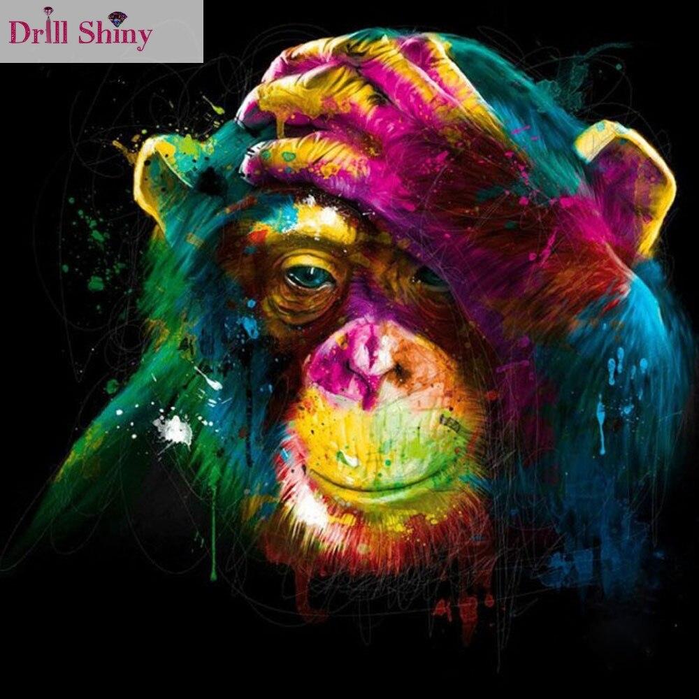 Colorful Art: Color Monkey Mosaic Full Resin Diamond Painting Cross