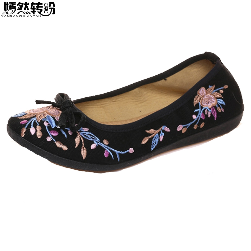 Chinese Women Flats Floral Embroidery Old Beijing Cloth Shoes Slip On Comfort Canvas Ballerina Dance Drive Shoes Zapatos Mujer vintage pumps spring autumn old beijing embroidery cloth shoes fairy girl embroidered national han chinese women s shoes