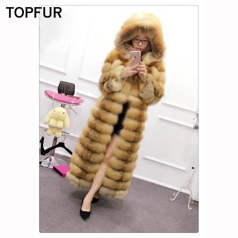 Qualité Capuchon Topfur Manteau Red Pleine Fourrure De Fur Chaud Avec Luxueux Argent Veste or Taille X Fur Renard Top long Outwear Épais Fox Plus silver Pelt La IwqIr0