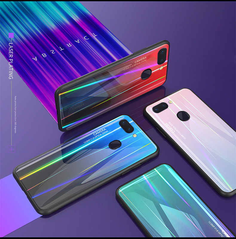 Tempered Glass Case for OPPO R15 Gradient Color Aurora Laser Back Cover Dream Colorful Shining