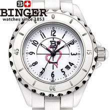 Genuine Brand Binger 2016 Lady Ceramic Luxury Watches with Ceramic Fine Steel Strap sapphire window watch pink love wristwatch