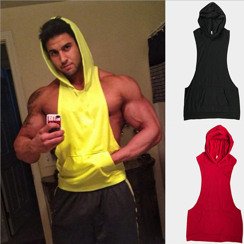Summer Fitness Men Bodybuilding Cotton Sleeveless Solid Color Stringer Hoodie   Tank     Top   hooded Shirt Vest Male Casual   Tops   MZ1605