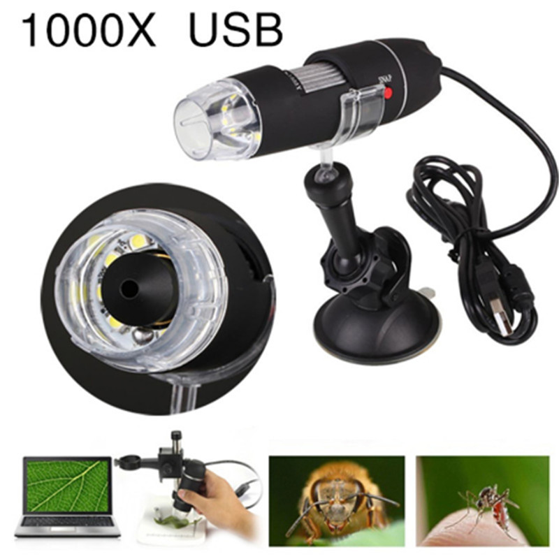 Portable USB Microscope Light Electric Handheld 1000x Camera Microscope Microscopes Suction Tool 8 LED Digital Endoscope