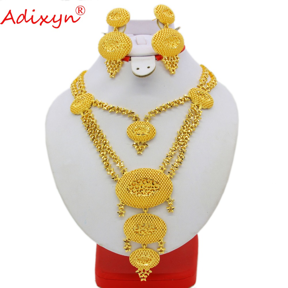 Adixyn Dubai Long Necklace/Earrings Bride Wedding Party Gift African Jewelry Sets  Gold Color Jewelry for Womens N09061Adixyn Dubai Long Necklace/Earrings Bride Wedding Party Gift African Jewelry Sets  Gold Color Jewelry for Womens N09061
