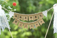 Mr Mrs And Your Name Personalized Wedding Cake Banner Party Decoration Burlap Banner With Lace Bow