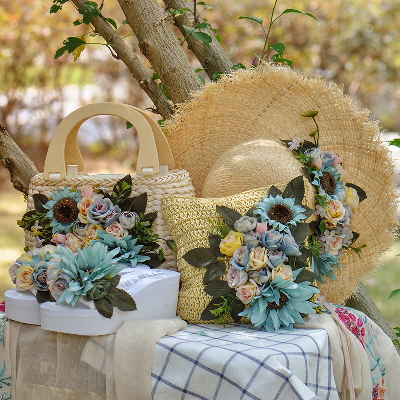 The new package mail bag original holiday flowers beach straw blue pink flowers handbags for trip and travel package rattan bag bags big size large totes straw bag for travel in summer trip on the beach beside sea handbags with flowers custom sun hat set